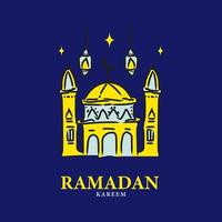 platte ramadan kareem ontwerp vector op blauwe achtergrond