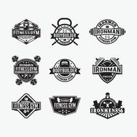 fitness gym badges en logo's, vector ontwerpsjablonen