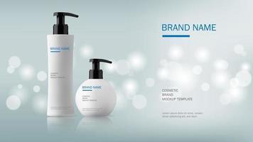 cosmetische ontwerpsjabloon, dispenser pomp plastic fles op zilver glitter achtergrond met bokeh licht, vectorillustratie vector