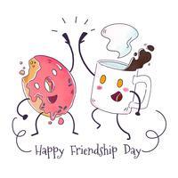 Leuke koffiemok en donutkarakter spelen voor vriendschap dag vector