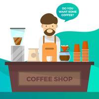 Vlakke die Barista en Koffie met Tosca Gradient Background Vector Illustration wordt geplaatst