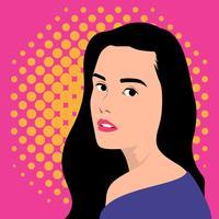 Pop Art Vrouwelijk Gezicht in Retro Grappige Illustratie als achtergrond