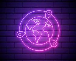pin op het wereldbolpictogram. elementen van navigatie in neonstijl vector