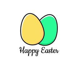 eenvoudige wenskaart voor Pasen met eieren in plat ontwerp