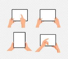 menselijk gebaar met behulp van tabletcomputer. gelaagde vector clipart geïsoleerd op transparante achtergrond