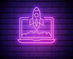 opstarten roze gloeiende neon ui ux pictogram