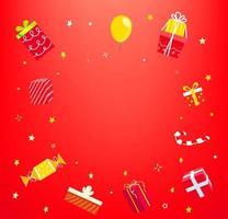 vakantie concept met geschenkdozen. frame voor uitnodiging vector