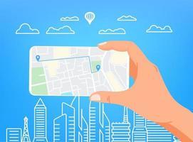 man met moderne smartphone. met behulp van de mobiele navigatie-app vector