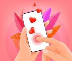 online dating applicatie concept. man met moderne smartphone en op het scherm te tikken. trendy stijl illustratie vector