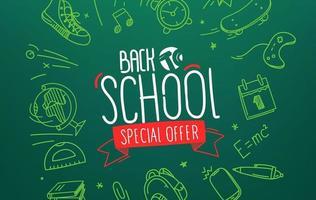 terug naar school speciale aanbieding. vector banner met belettering inscriptie