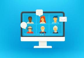 conferentie via internet in coronavirus. 3D-stijl vector illustratie