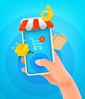 internet winkelen concept. man met smartphone en tikken op het scherm vector