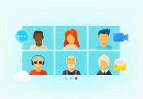 webconferentie via internet. 3D-stijl vector illustratie