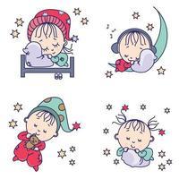 zoete droomcollectie. schattige slapende baby's op een kussen, bed, met een teddybeer en op de maan. vector