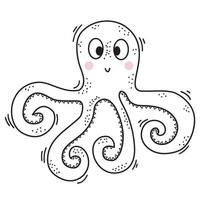 het zeedier is een octopus. schattig decoratief onderwaterkarakter met ogen en glimlach. vector