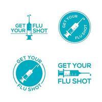 krijg je griepprik met spuitinjectiesymbool. griepvaccin geïsoleerd op een witte achtergrond
