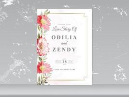 bruiloft uitnodigingskaarten met groen bloemdessin vector