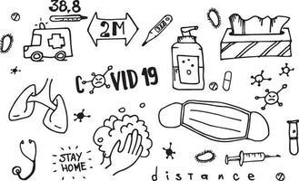 doodle set van vectorillustratie van covid-19 elementen, coronavirus moderne illustratie voor print en web. vector