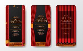 luxe elegante grootse opening social media verhalen sjabloon set vector