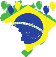 vlag van brazilië kaart vector