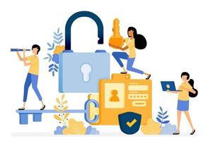 banner vectorontwerp van map met een wachtwoord en gebruikersnaambeveiliging voor de bescherming van persoonlijke gegevens. illustratie concept wordt gebruikt voor bestemmingspagina, sjabloon, ui, web, mobiele app, poster, banner, website vector