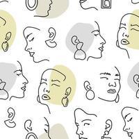 naadloze patroon met vrouwelijke portretten met oorbellen. lijntekening.