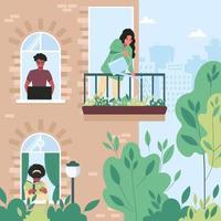 buren in hun appartementen zijn druk bezig met hun dagelijkse bezigheden. door de ramen van het huis zie je een freelanceman, een meisje dat een boek leest, en een vrouw die bloemen water geeft op het balkon.