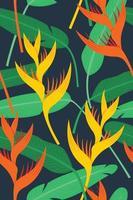 naadloze patroonbehang van heliconia bloemen en bladeren voor de tropische plant achtergrond. vector