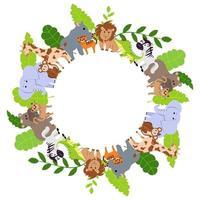 naadloze frame met wilde dieren. olifant, leeuw, neushoorn, nijlpaard, giraf, jaguar, aap, krokodil en tijger. cartoon vectorillustratie voor kinderontwerp. vector