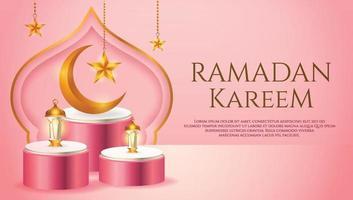 3d-productvertoning roze en wit islamitisch podiumthema met wassende maan, lantaarn en ster voor ramadan vector