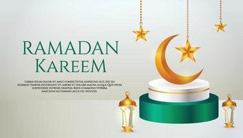 3d-productvertoning groen en wit islamitisch podiumthema met wassende maan, lantaarn en ster voor ramadan vector