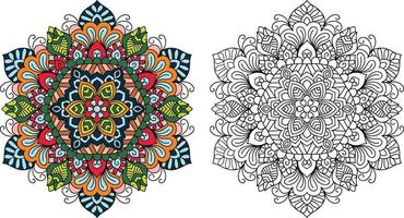 doodle zentangle mandala kleurboekpagina voor volwassenen en kinderen. wit en zwart rond decoratief. vector