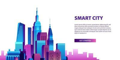 slimme stad concept met pop kleurrijke gebouw wolkenkrabberscène vector
