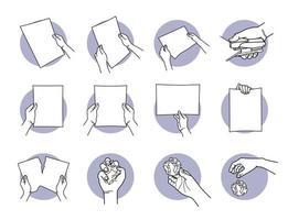 hand met a4-papier, nieten, scheuren, verfrommeld en weggooien vector