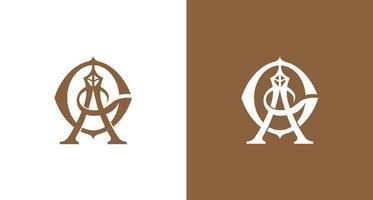 luxe en stijlvolle letter ag en diamant, toren monogram logo set vector