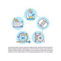 vaccin productie concept lijn pictogrammen met tekst vector