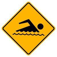 teken verboden om te zwemmen op witte achtergrond vector