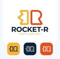 creatieve raket in r brief vector logo ontwerpset