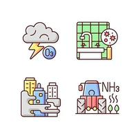 luchtvervuiling RGB-kleur iconen set