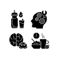 dagelijkse gezondheidszorg zwarte glyph-pictogrammen ingesteld op witte ruimte vector