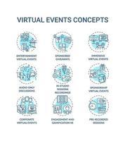 virtuele evenementen concept pictogrammen instellen vector