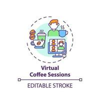 virtuele koffiesessies concept pictogram vector