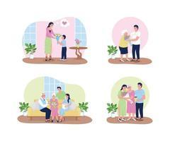 moederdag 2d vector webbanner, poster set
