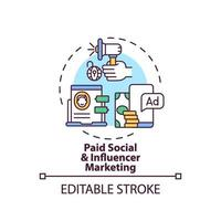 betaald sociaal en influencer marketingconcept pictogram vector