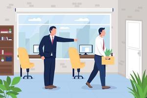 baas ontslagen werknemer van kantoor baan egale kleur vectorillustratie