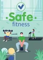 veilige fitness in sportschool poster platte vector sjabloon