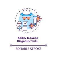 vermogen om het conceptpictogram van diagnostische tests te ontwijken vector