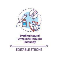 het ontwijken van natuurlijke of door vaccin geïnduceerde immuniteitsconceptpictogram vector