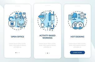 toekomstige kantooromgevingen onboarding mobiele app-paginascherm met concepten