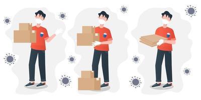 veilige levering vector illustratie cartoon stijl. vlakke afbeelding met veilige levering voor bannerontwerp. coronavirus bescherming. Corona-uitbraak. klantenservice. contactloze levering.